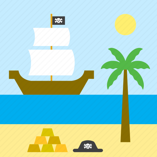 landscape, palm tree, pirate, sea, ship, treasure icon