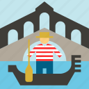 gondola, gondolier, italian, italy, rialto, rialto bridge, venice icon