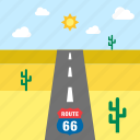 cactus, desert, landscape, road, route 66, travel, united states icon