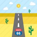 cactus, desert, landscape, road, route 66, travel, united states