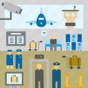 airplane, airport, baggage, luggage, plane, security control, transport icon