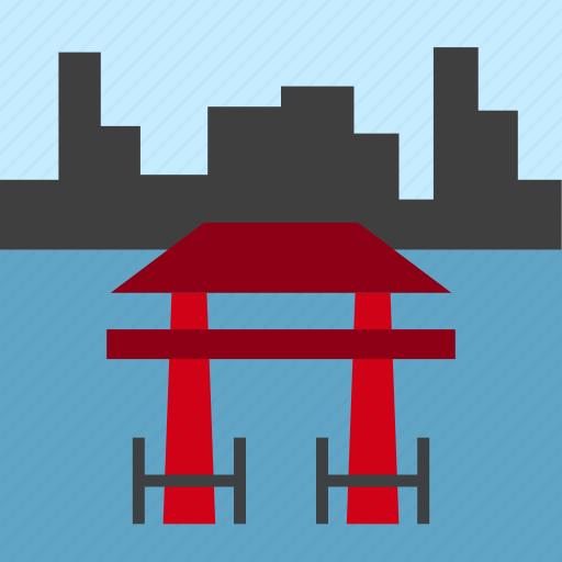 door, gate, japan, japanese, landscape, sea, torii icon