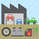 shop, repair, car, tool, garage, tow truck