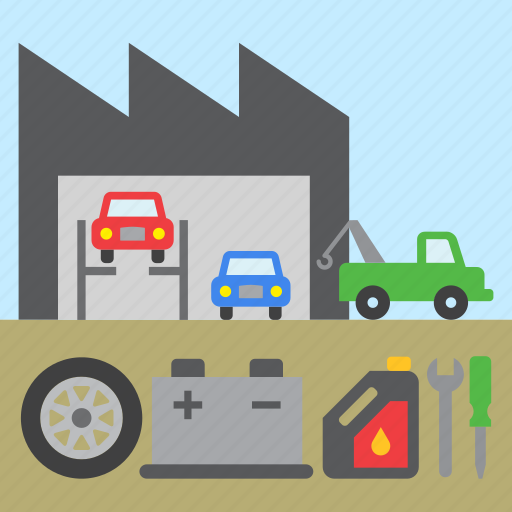 car, garage, repair, shop, tool, tow truck icon