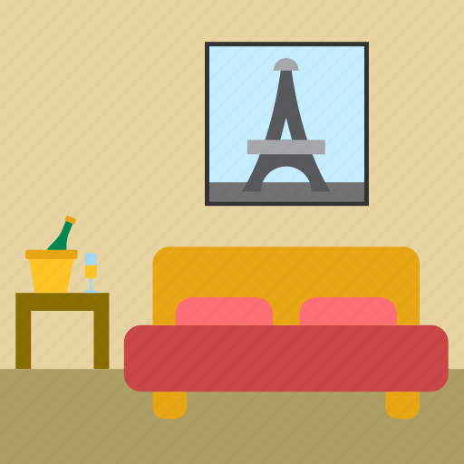 bed, bedroom, champagne, hotel, hotel room, tour eiffel icon