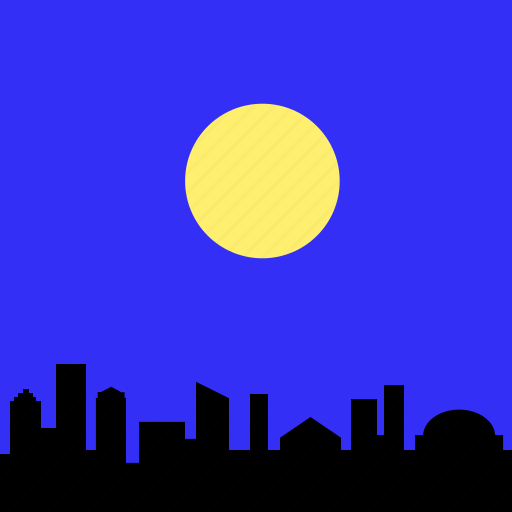 city, landscape, moon, night, sky, skyline, town icon