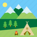 bonfire, campfire, camping, landscape, mountain, nature, tent icon