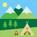 mountain, camping, nature, campfire, bonfire, landscape, tent