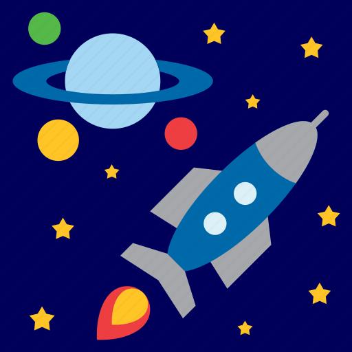 planet, rocket, saturn, space, spaceship, star, universe icon