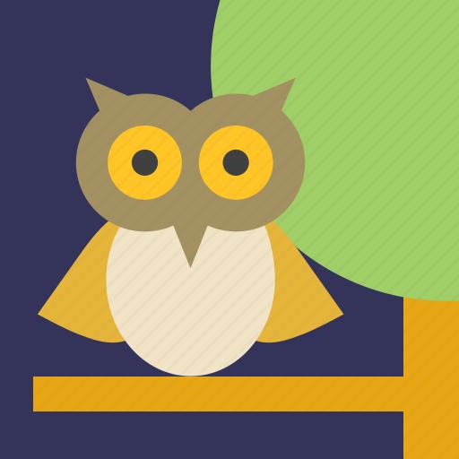 animal, bird, landscape, night, owl, tree icon