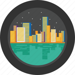 city, cityscape, lake, lights, night, sea, stars icon