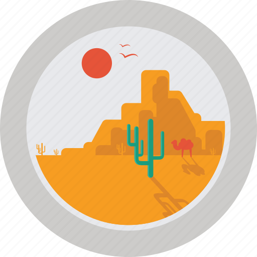 cactus, camel, desert, hot, rock, sun icon