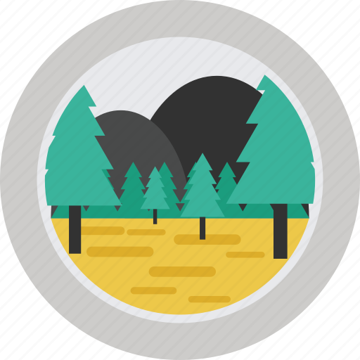 fir tree, fir trees, forest, landscape, mountain, mountains, tree, trees icon