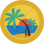 beach, holiday, island, landscape, ocean, palm trees, relax, sea, sun icon
