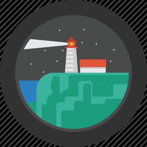 building, landscape, light, lighthouse, night, port, sea icon