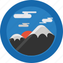 mountain, clouds, mountains, sun, sky, snow, landscape