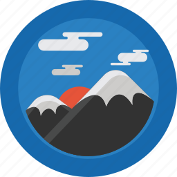 clouds, landscape, mountain, mountains, sky, snow, sun icon
