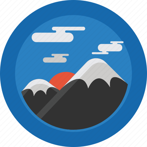 Mountain, clouds, mountains, sun, sky, snow, landscape icon