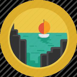 boat, landscape, ocean, rocks, sea, ship icon