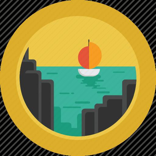Rocks, boat, sea, ship, ocean, landscape icon