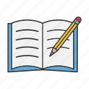 copybook, notebook, notepad, pencil, take notes, write, writing icon