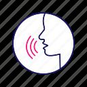 language, pronunciation, speaking, speech, spelling, talk, voice icon