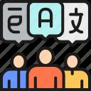 chat, idea, message, speak, talk, think, translation