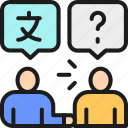 conversation, foreign, language, mobile, people, speak, translation icon