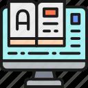 book, computer, education, monitor, online, translate, translation