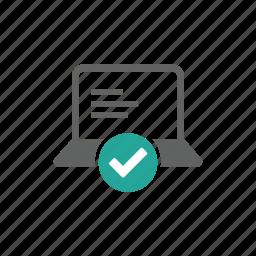 check, check mark, computer, device, hardware, laptop icon