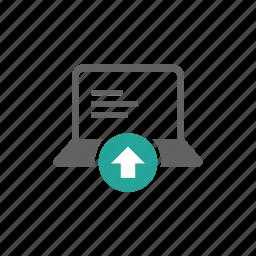 arrow, computer, device, hardware, laptop, up, upload icon