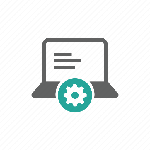 computer, device, gear, hardware, laptop, options, setting icon