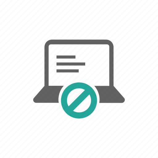 computer, device, error, hardware, laptop, prohibit, warning icon