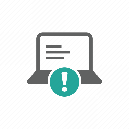 attention, computer, error, exclamation mark, hardware, laptop, warning icon
