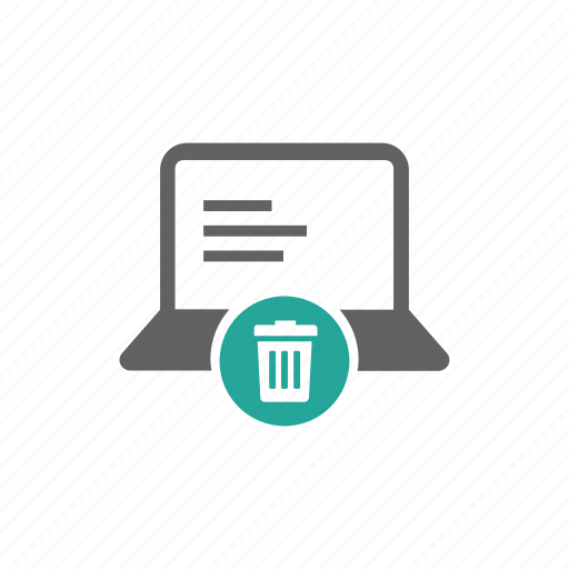 computer, delete, laptop, remove, trash, trash bin icon