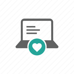 computer, favorite, hardware, heart, laptop, like, love icon