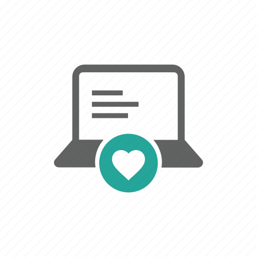 computer, favorite, hardware, heart, laptop, like, love icon