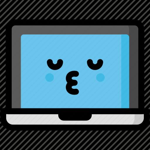 emoji, emotion, expression, face, feeling, kiss, laptop icon