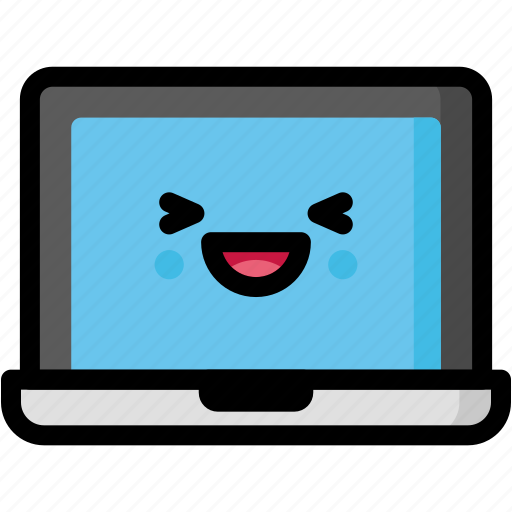 emoji, emotion, expression, face, feeling, laptop, laughing icon