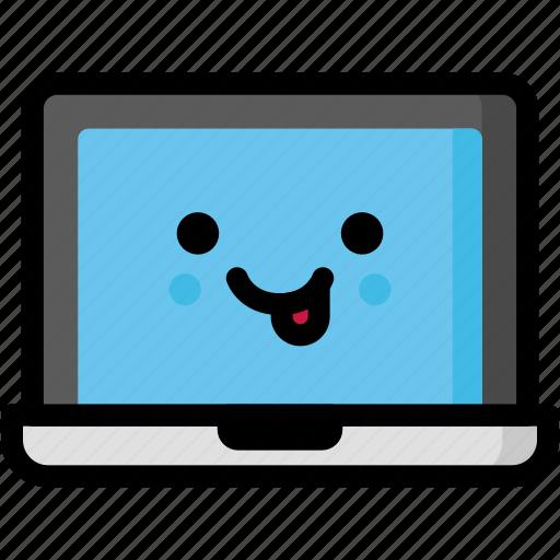 emoji, emotion, expression, face, feeling, laptop, naughty icon