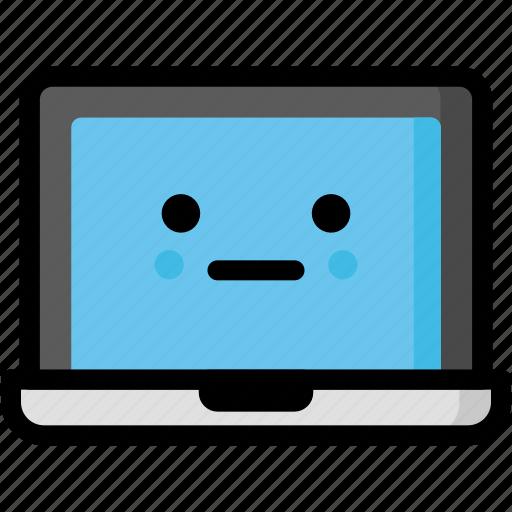 emoji, emotion, expression, face, feeling, laptop, neutral icon