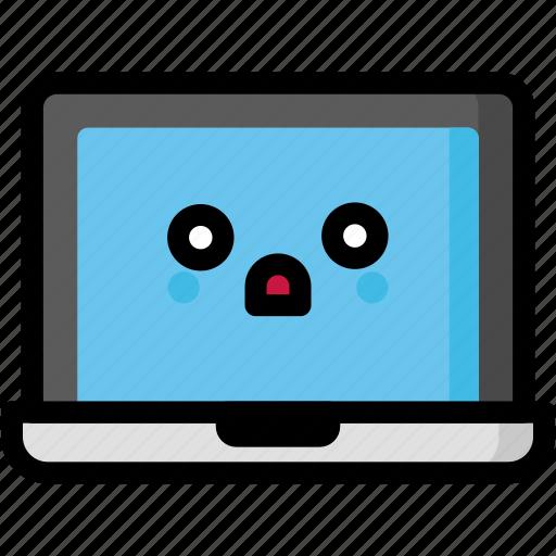 emoji, emotion, expression, face, feeling, laptop, shocked icon