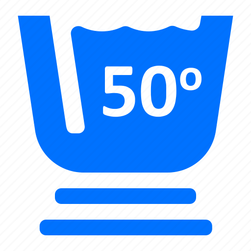 degree, fifty, laundry, washing icon