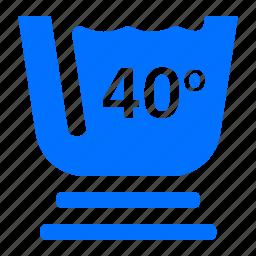 degree, forty, laundry, washing icon