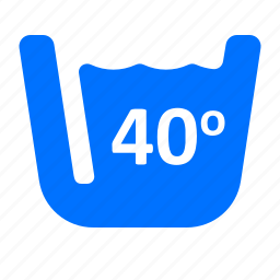degrees, forty, laundry, washing icon