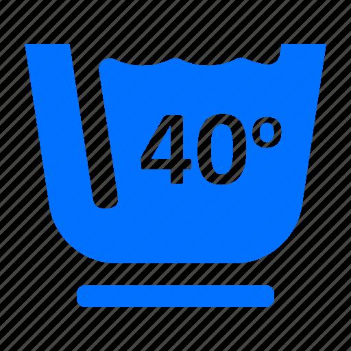 forty, laundry, washing icon