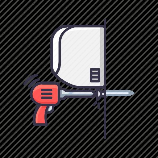 ac, drill, installation, machine, nil, screw icon