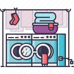 bucket, cloths, kids, laundry, machine, socks, washing icon
