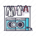 cloths, laundry, machine, men, switch, washing icon