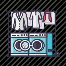cloths, laundry, machine, men, switch, washing icon
